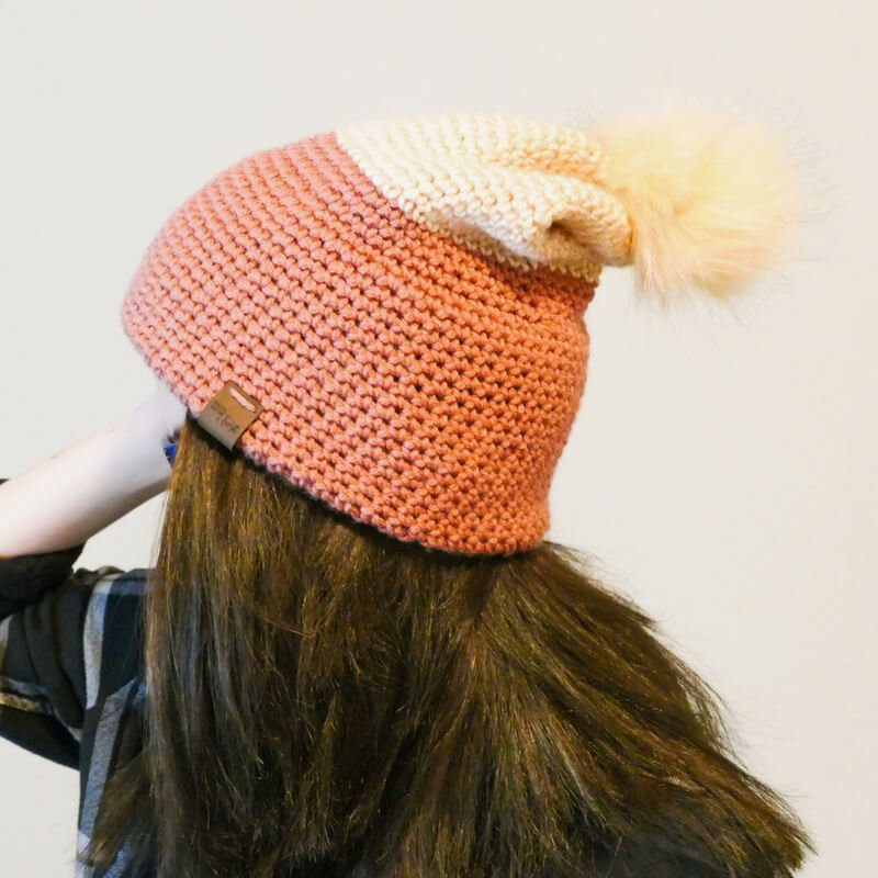 Side view of the crocheted double brim slouch hat