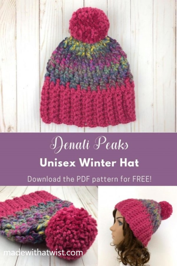 Pinterest graphic of Denali Peaks Unisex Winter Hat. FREE PDF downloadable crochet pattern