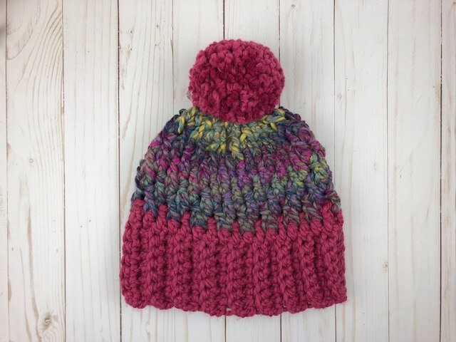 Unisex winter hat made from a FREE crochet pattern