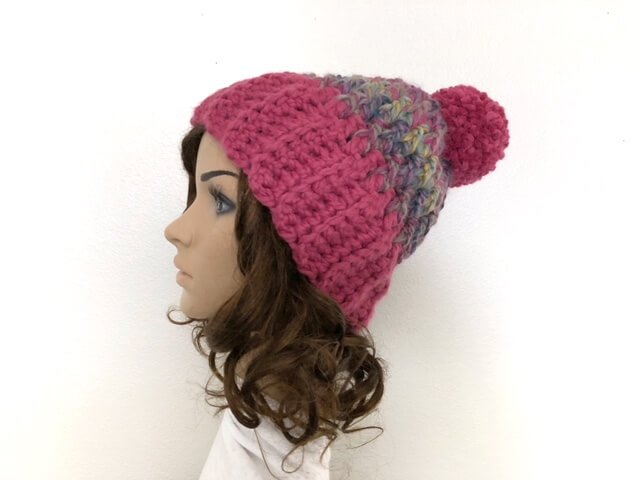 Crochet unisex winter hat on a mannequin