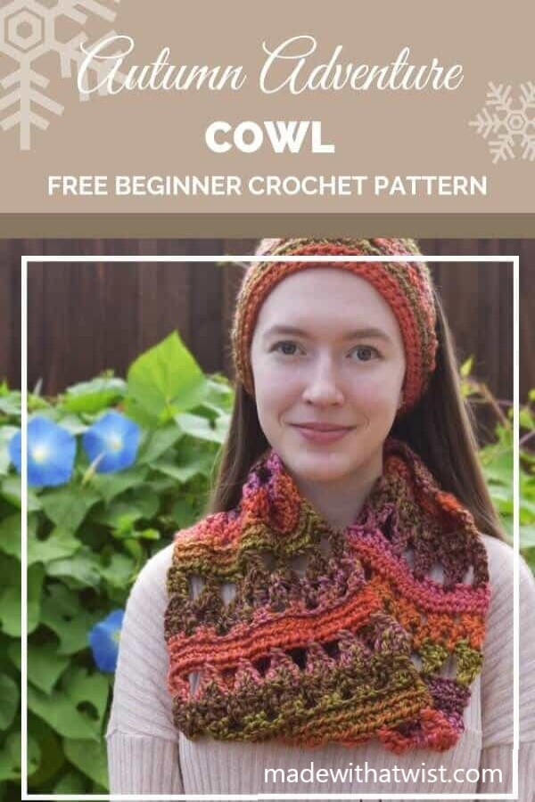 Pinterest graphic for Autumn Adventure Cowl FREE Beginner Crochet Pattern with a photo of a woman wearing a cowl and headband