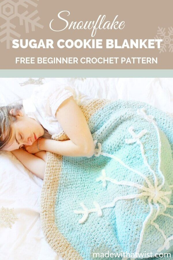 Pinterest graphic for Snowflake Sugar Cookie Blanket FREE Beginner Crochet Pattern with a photo of a woman enjoying the blanket
