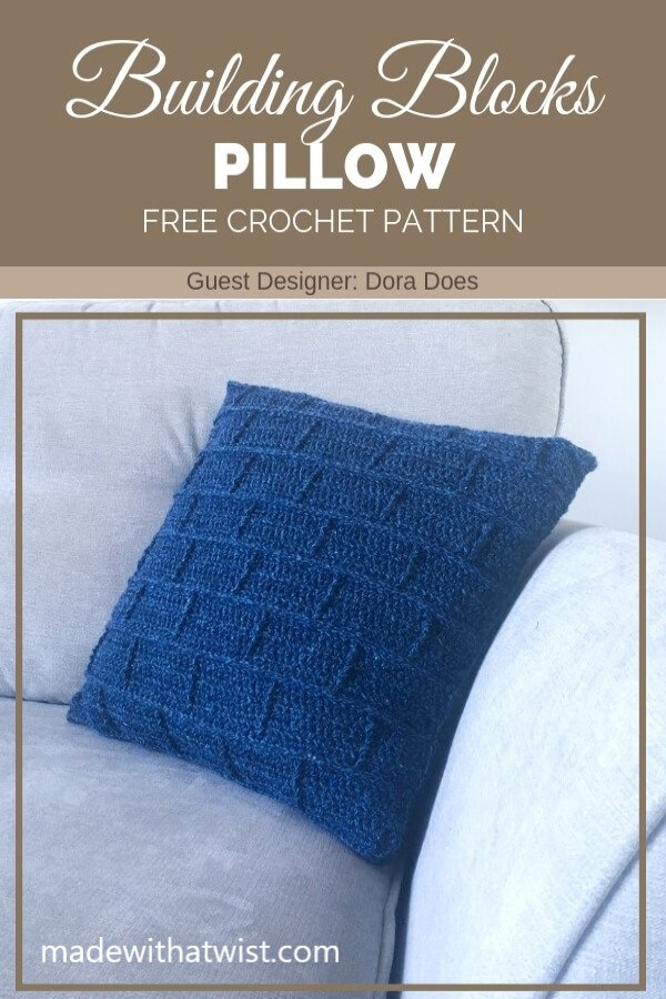 Pinterest graphic for the Building Blocks Pillow FREE Crochet Pattern with a photo of a blue throw pillow at the side of a sofa