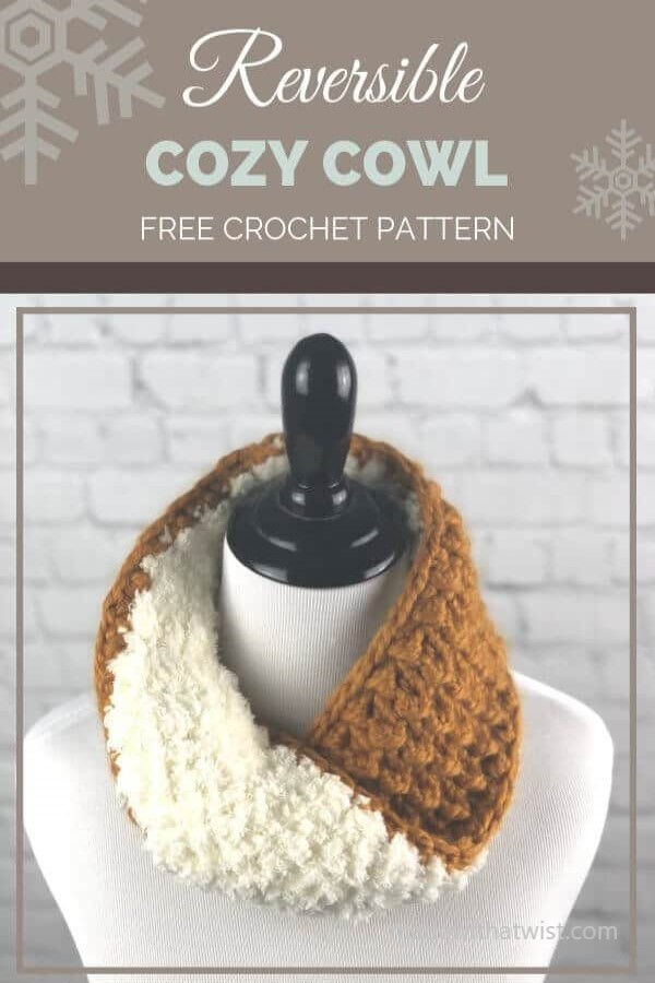 Pinterest graphic for Reversible Cozy Cowl FREE Crochet Pattern with a photo of this neck warmer on a mannequin