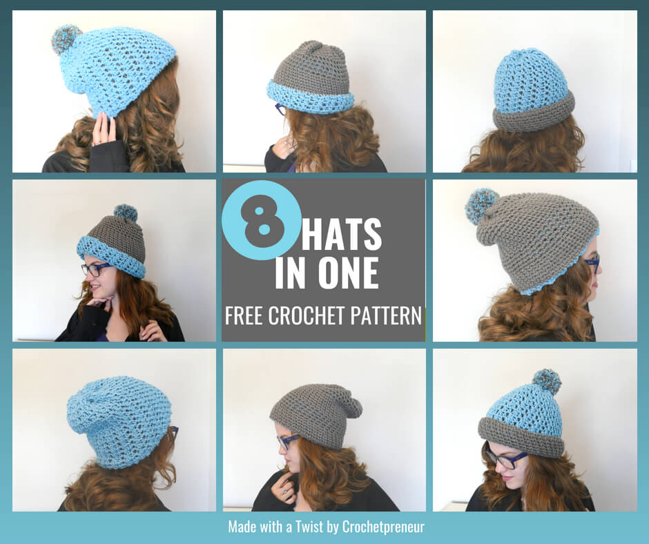 Photo of the Polly Hat worn 8 ways.