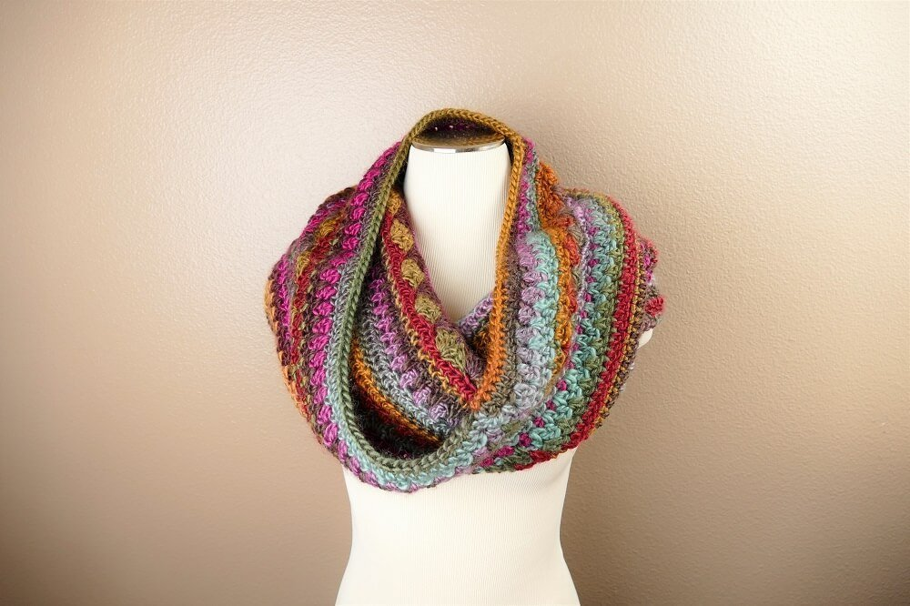 Photo of the Sweet Harmony Hooded Cowl, crocheted from this FREE pattern