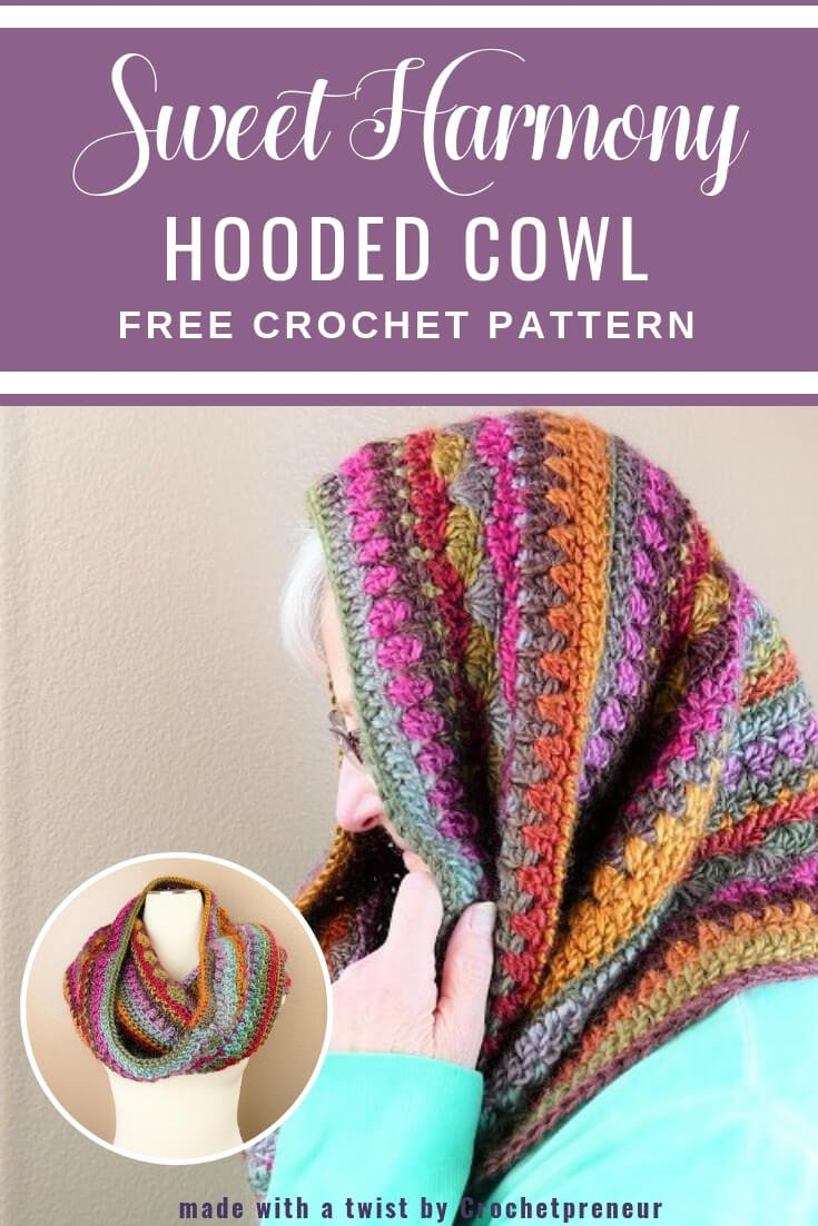 This hooded cowl crochet pattern creates a lovely self-striped, multicolored cowl that can be worn as a head wrap for those snowy winter days. It's a free crochet pattern from Made with a Twist by Crochetpreneur! #freecrochetpattern #headwrapcrochetpattern #cowlcrochetpattern #lionbrandlandscapes #desertspring #selfstripingyarn #widecowlcrochetpattern #crochetpatternforcowl