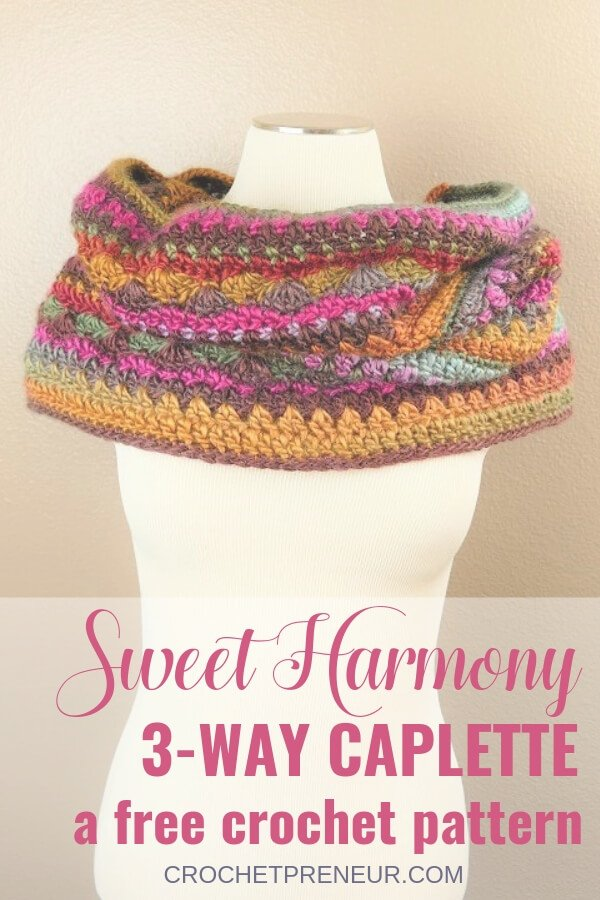 Sweet Harmony Self Striping 3-Way Caplette FREE Crochet Pattern