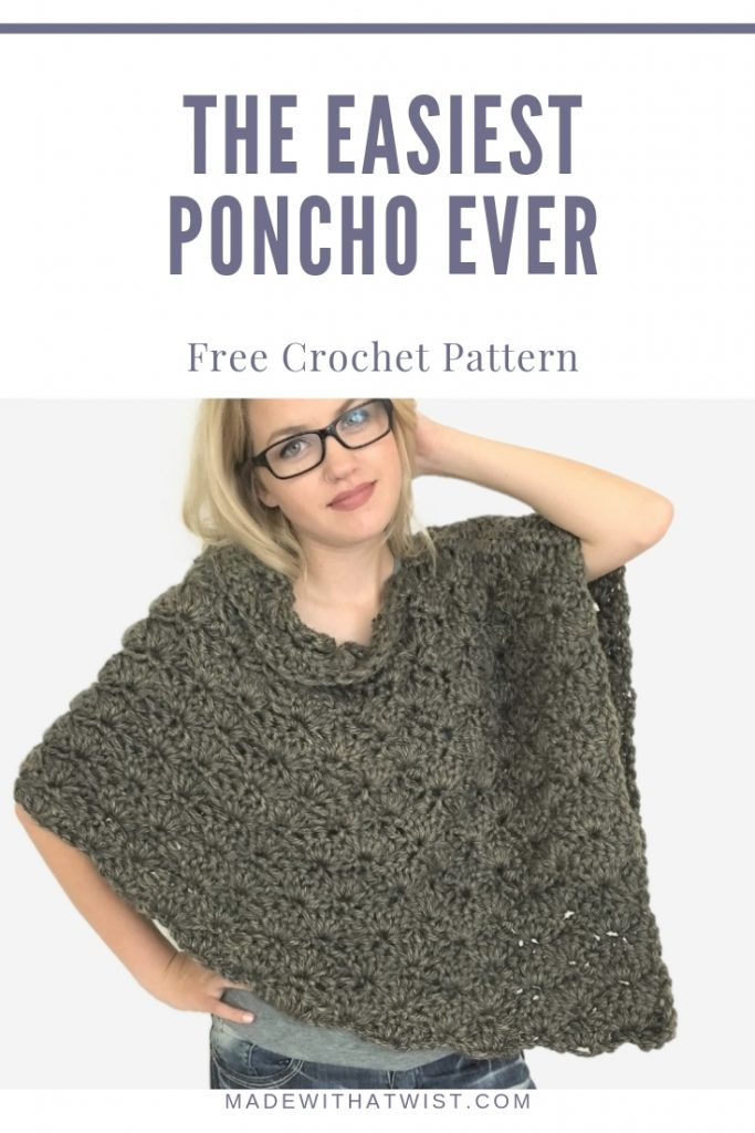Pinterest image of a woman wearing the best and easiest crochet poncho