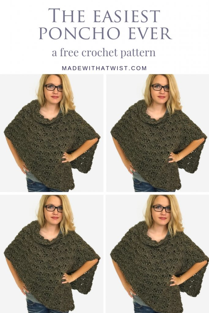 Pinterest image with a collage of a woman wearing crochet poncho