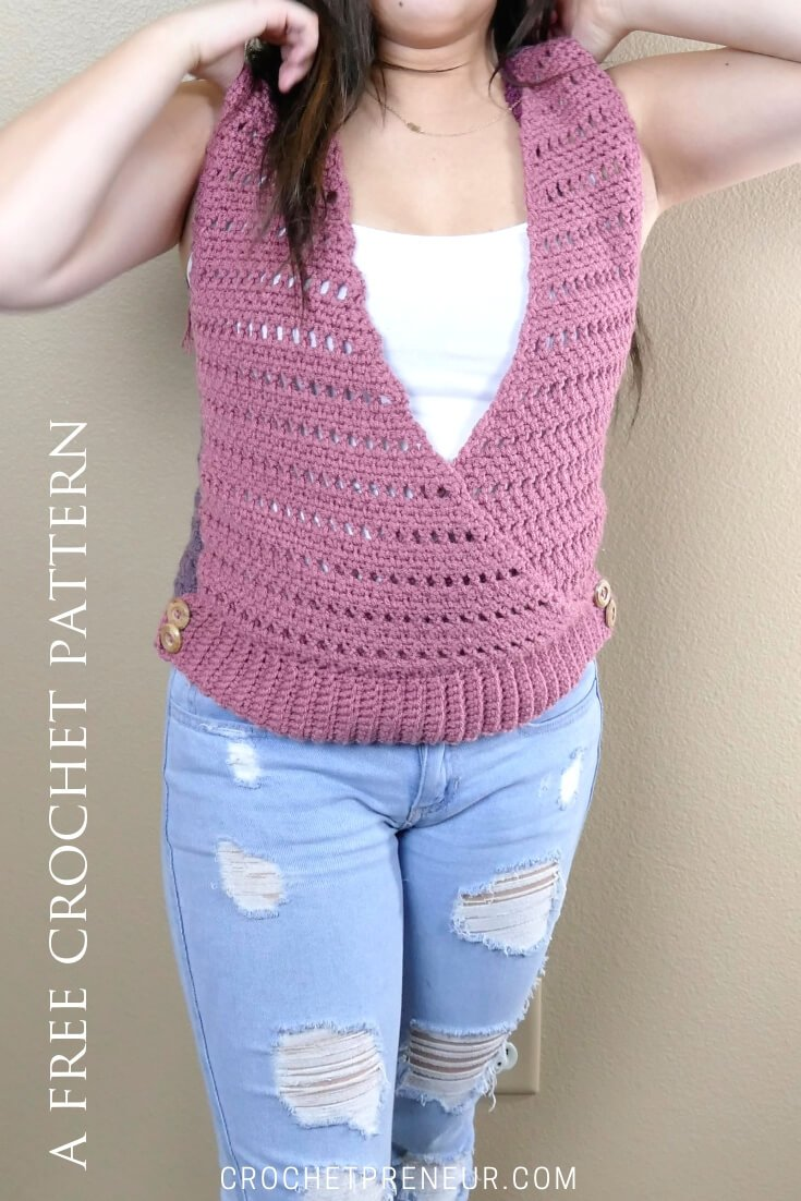Photo of Cross My Heart Shell crochet with a deep V-neck and adorable button embellishments.