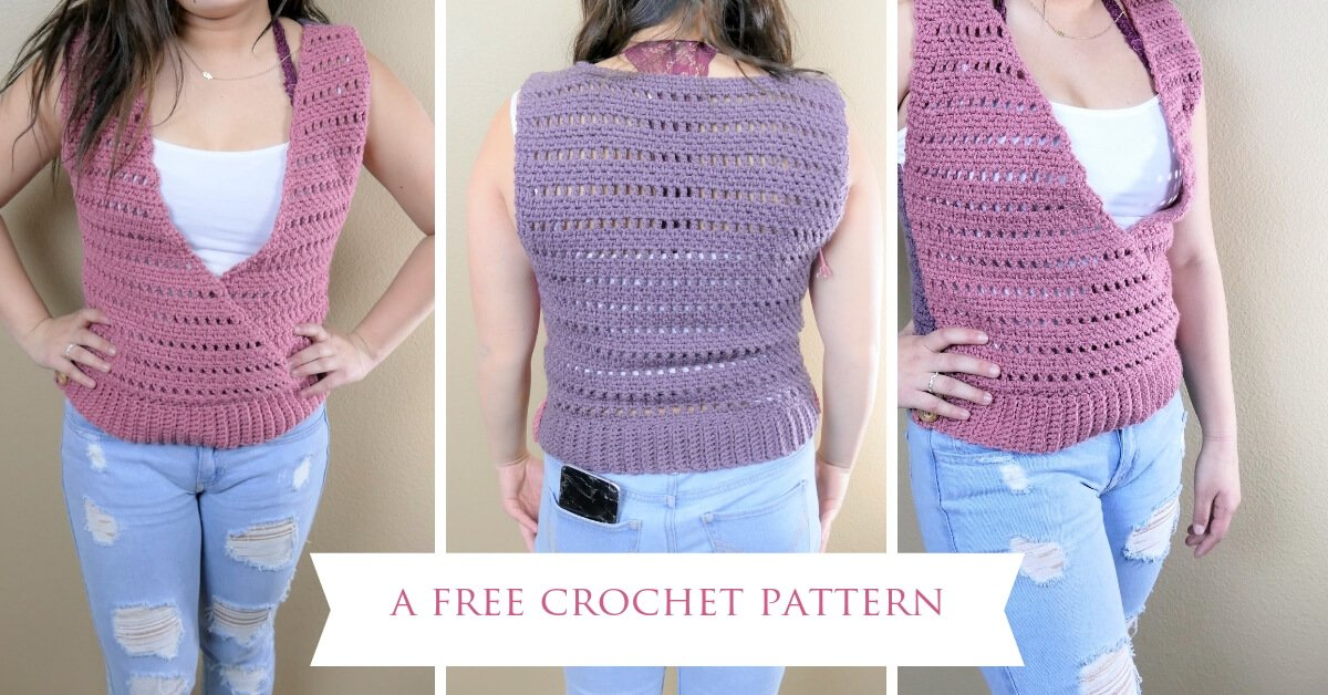 Front and back view of the Cross My Heart top, crocheted with this FREE pattern.