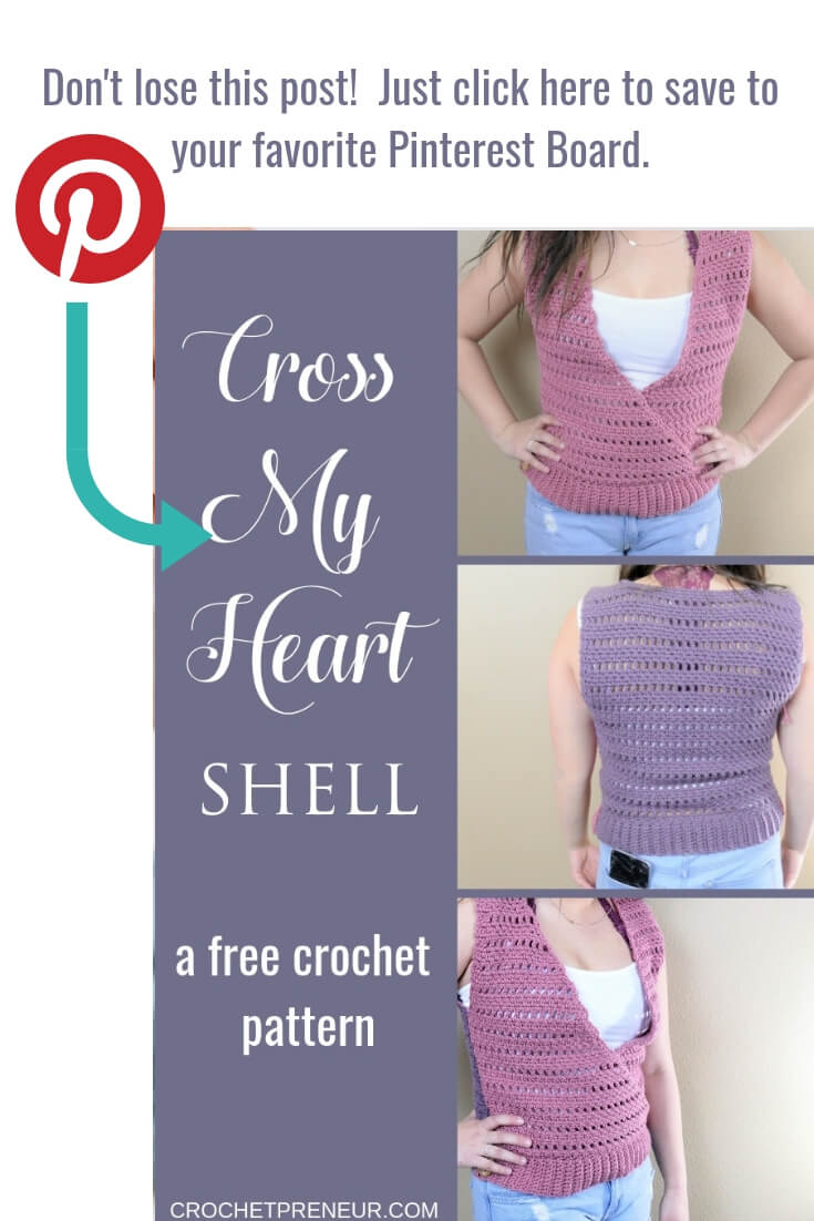 Reminder to pin it graphic for Cross My Heart Shell