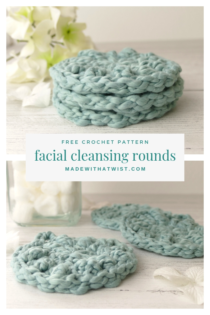 A photo of DIY facial cleansing rounds with a reminder that it is a FREE crochet pattern