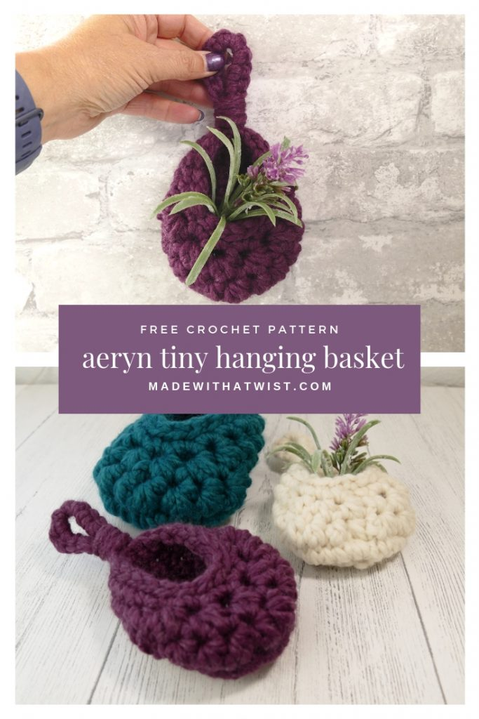 Pinterest image of crochet tiny aeryn hanging basket