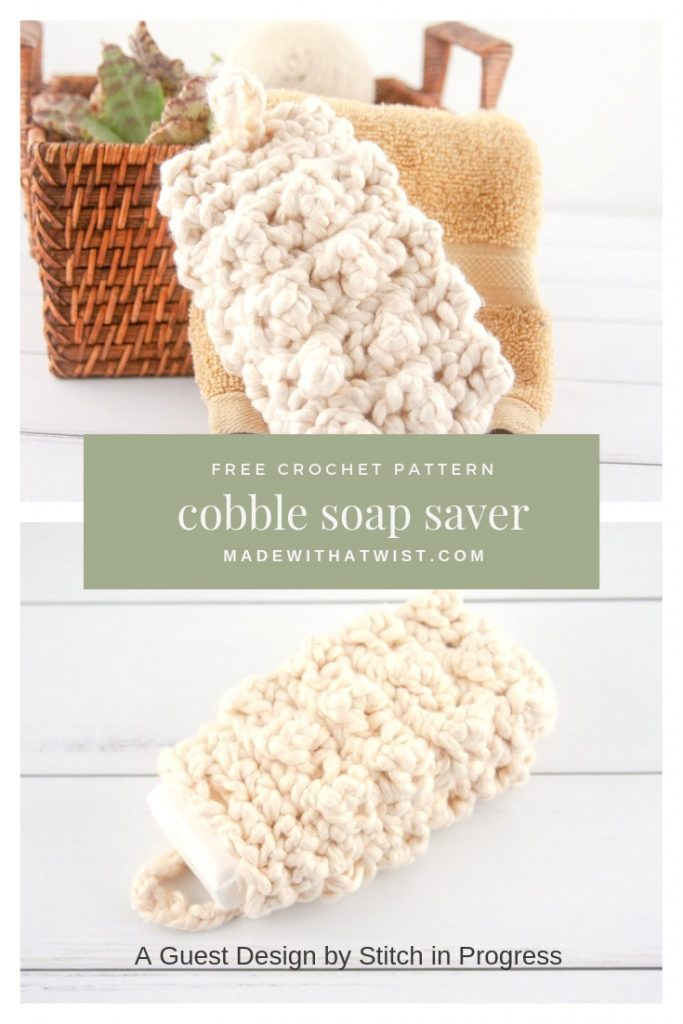 A Pinterest image of the cobble soap saver noting it's a free crochet pattern