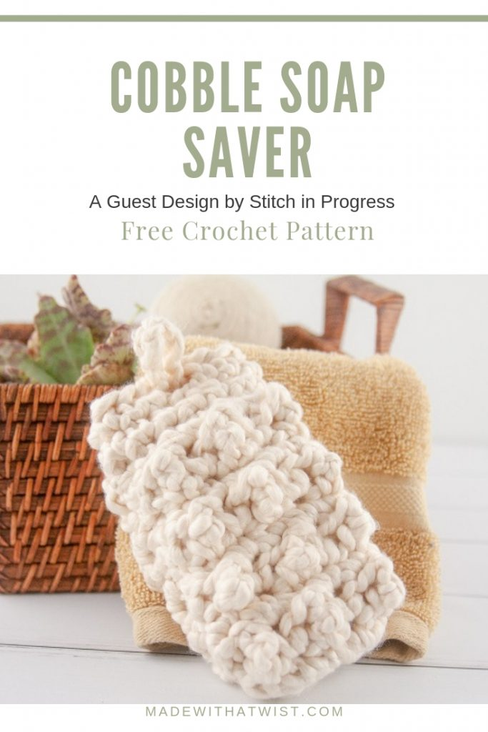 A Pinterest image of the cobble soap saver. Reminding it's a free crochet pattern.