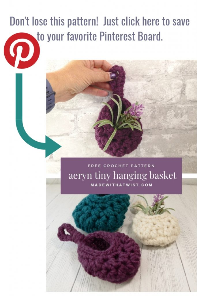 Pinterest reminder image: pin this image of the crochet aeryn tiny hanging sack basket