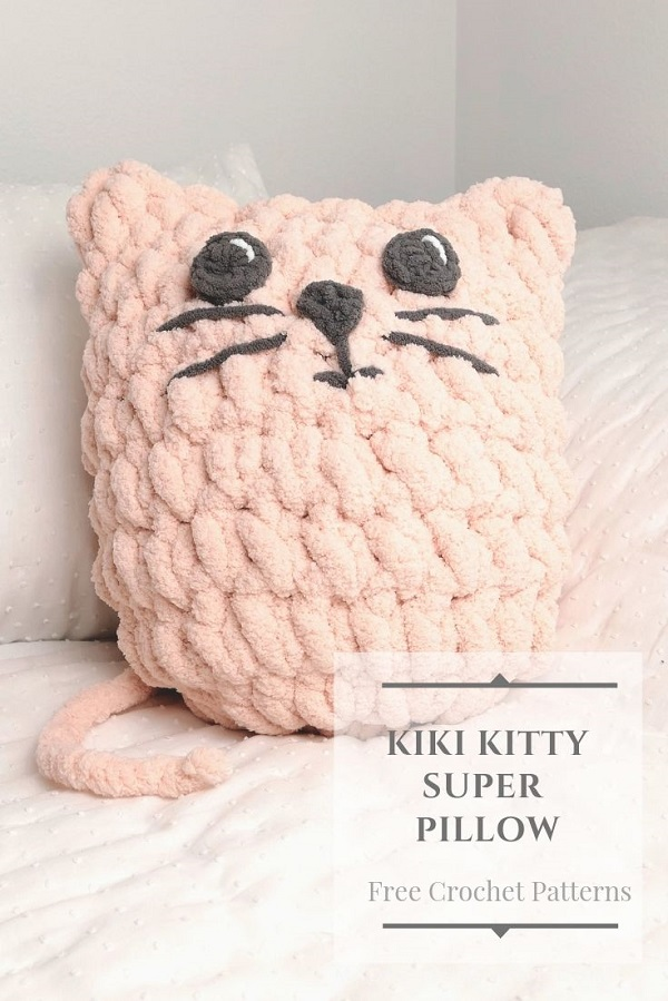 pinterest image of a pink kitty pillow or cat pillow