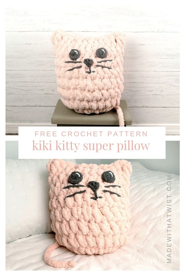 Pinterest image of a crocheted pink kitty pillow or cat pillow