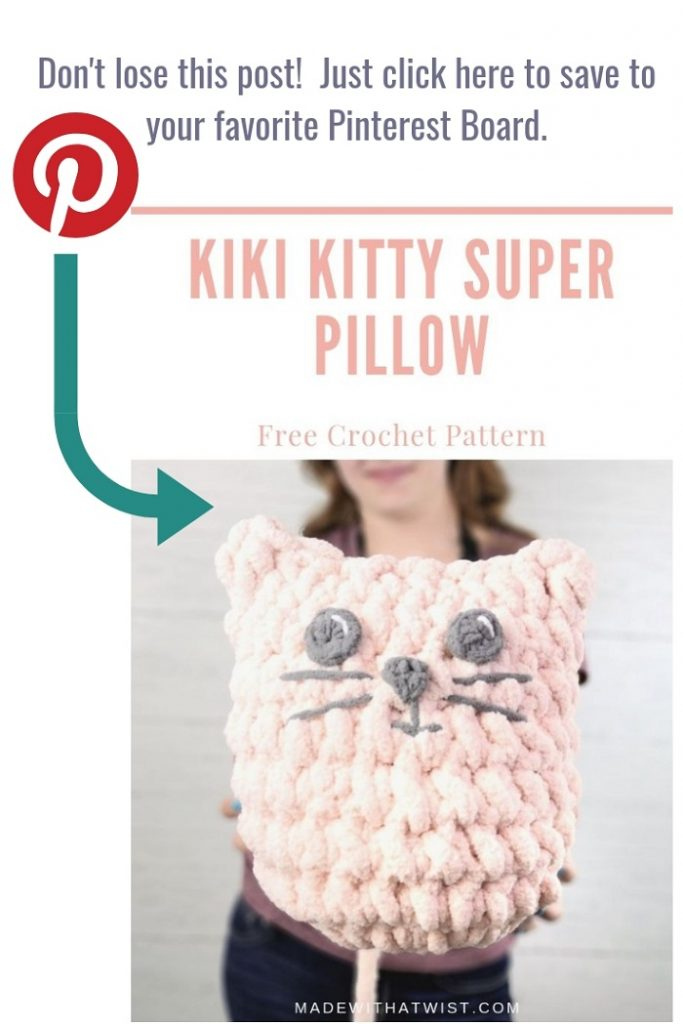 Pinterest image of a crochet pink kitty pillow or cat pillow