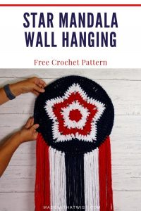 5 point star mandala wall hanging in red white and blue for 4th of july