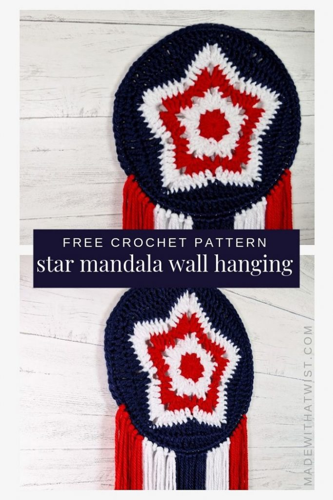 5 point star mandala wall hanging in red white and blue colors for 4th of July