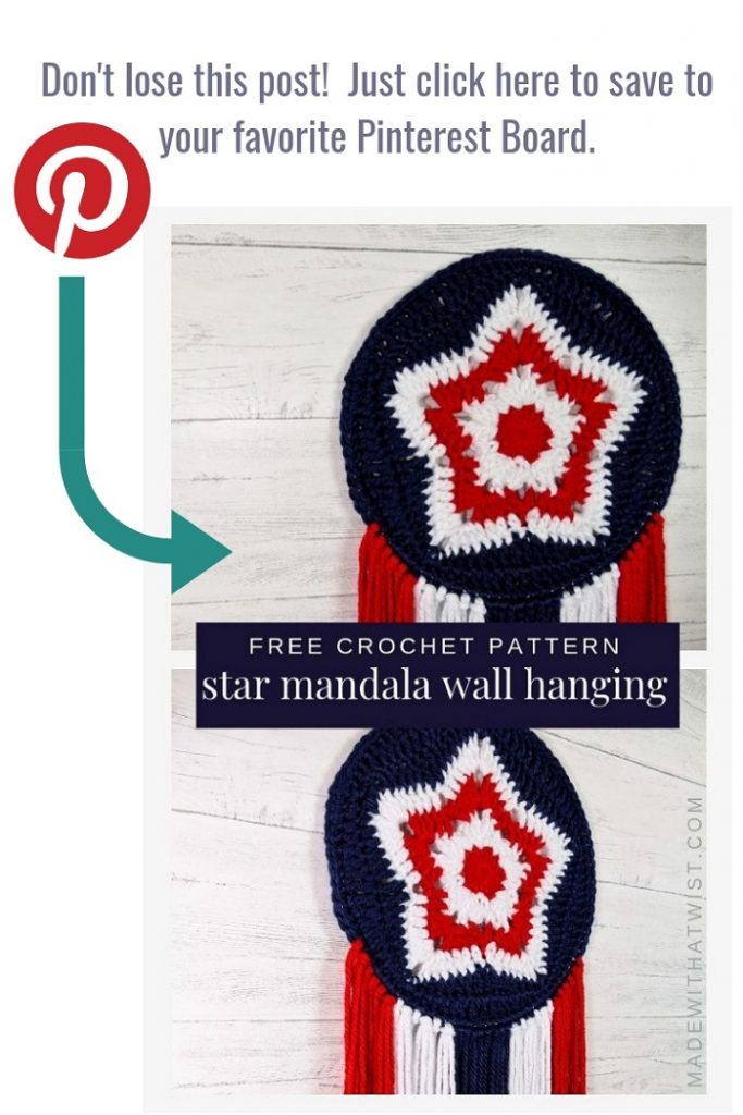 A pin of the 5 point crochet star mandala wall hanging in red, white, and blue for 4th of July