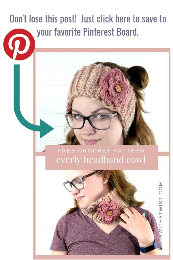 Pin this image of a woman wearing the convertible cowl headband with flower at the center.