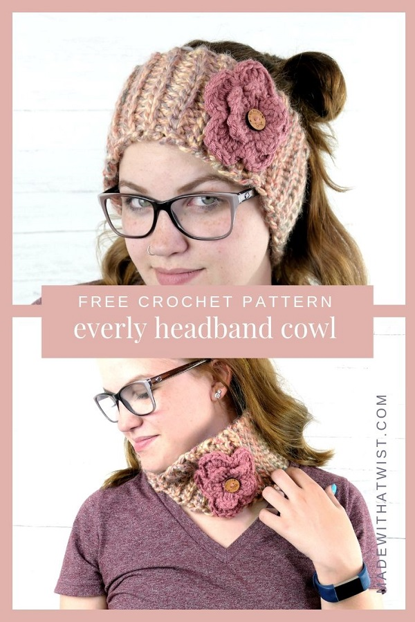 Pinterest image of a woman wearing a floral cowl worn in two ways, as a headband or earwarmer and cowlband or neckwarmer