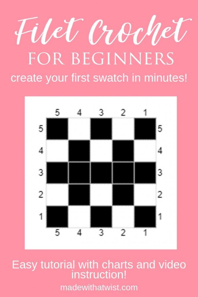 "Pinterest Image with pink background and a simple filet crochet swatch chart. The pin reads ""Filet Crochet for Beginners, create your first swatch in just minutes."""