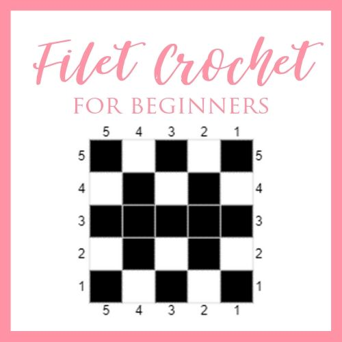 "Square image showing a simple filet crochet chart with text, in pink, reading ""Filet Crochet for Beginners."""