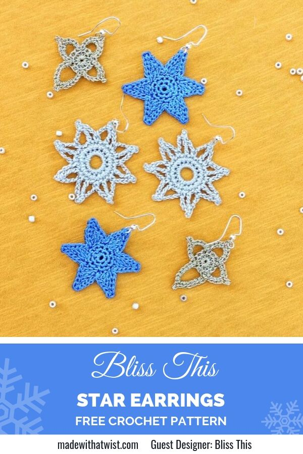 Pinterest graphic for the Bliss This Star Earrings FREE Crochet Pattern