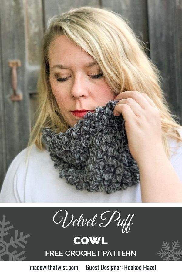 Pinterest graphic for Velvet Puff Cowl FREE Crochet Pattern