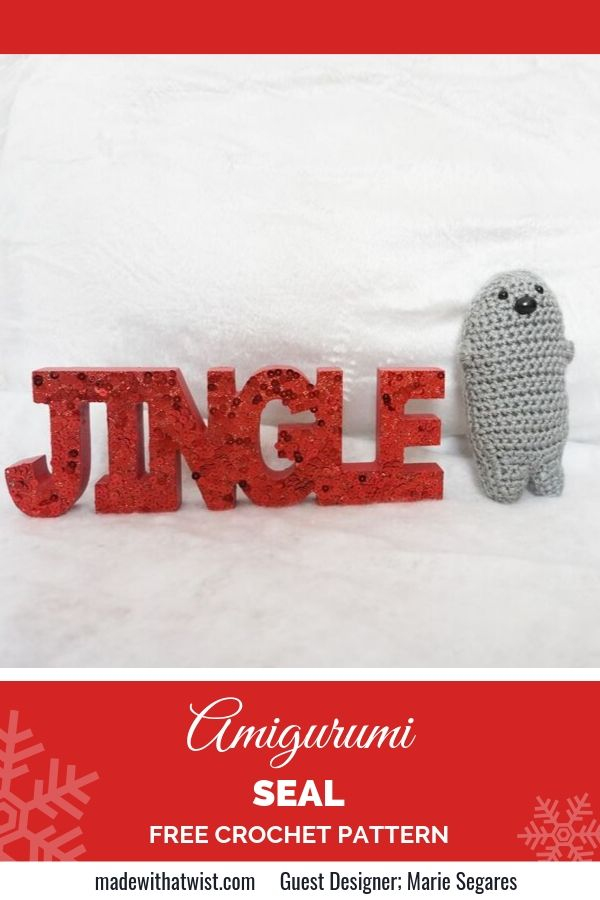 Pinterest image with a sample of Amigurimi Seal beside the word JINGLE with white background