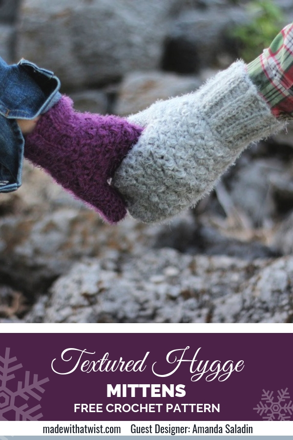 Photo of 2 people holding hands wearing crochet hygge mittens. Easy and free crochet patterns.