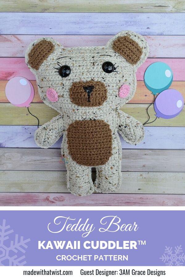 Pinterest graphics of Teddy Bear Kawaii Cuddler Crochet Pattern