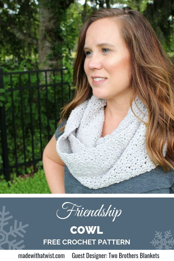 Pinterest graphic for the Friendship Cowl FREE Crochet Pattern Infinity Scarf