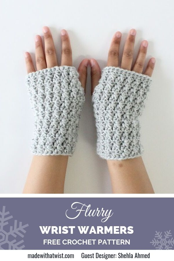 Pinterest graphic for Flurry Star Stitched Wrist Warmers FREE Crochet Pattern