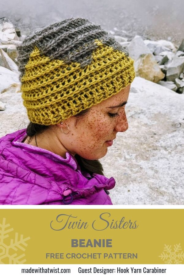 Pinterest graphic for Twin Sisters Beanie FREE Crochet Pattern for hats