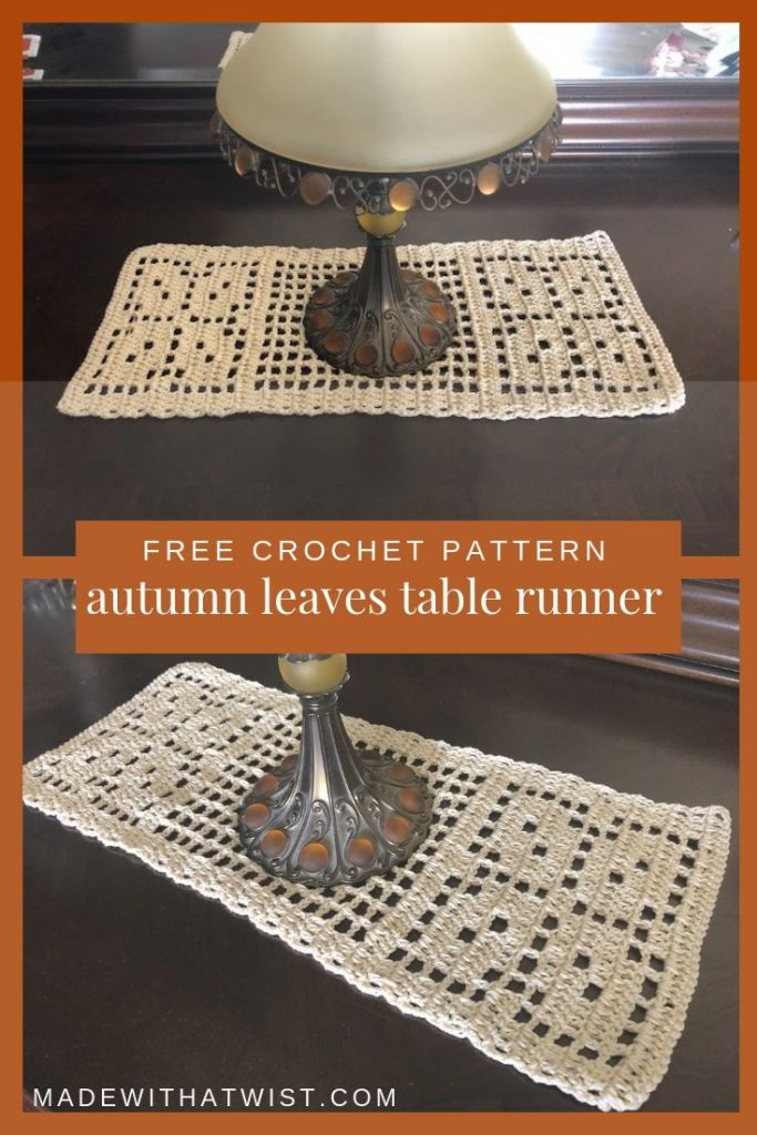 Photo of autumn leaves table runner under a lamp. Free and easy crochet pattern for beginners.