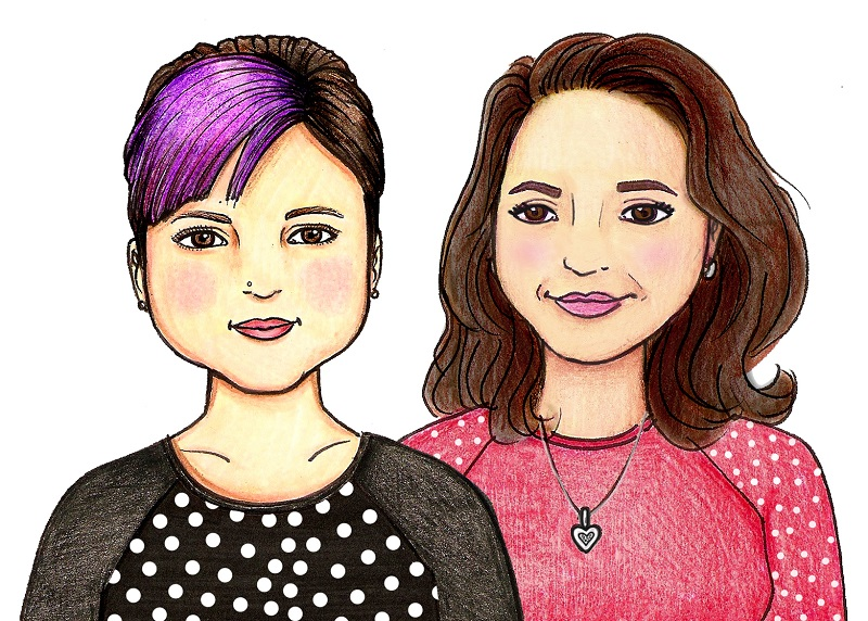 Colored drawing of Donna Beavers and Michaelene Nelson
