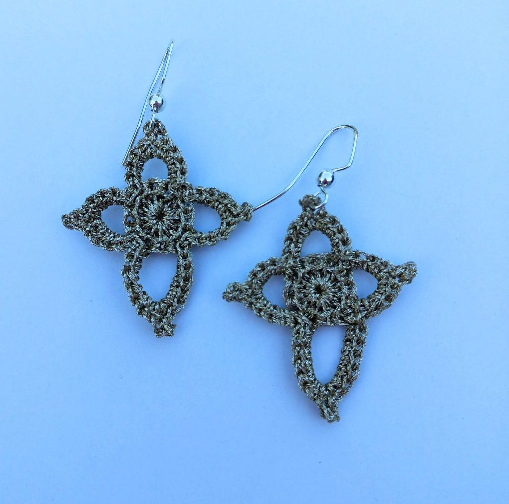 Close up image of the 3rd Bliss This Drop Star Earring design FREE Crochet Pattern