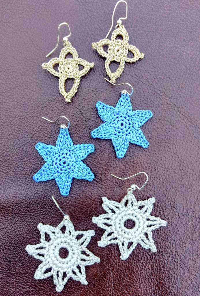 Photo of three unique designs for the Free Bliss This Star Earrings Crochet Pattern