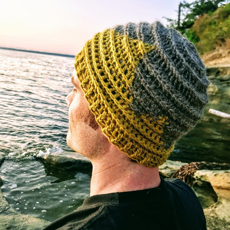 Photo of a guy wearing the Twin Sisters beanie