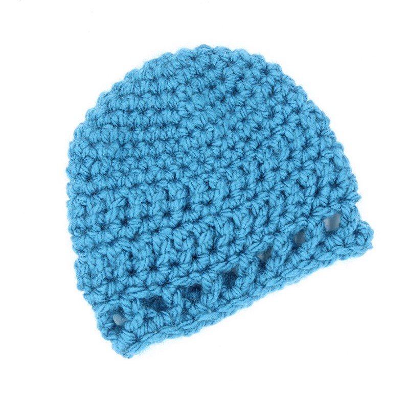 Photo of the blue Peek-a-boo Baby Hat FREE Crochet Pattern