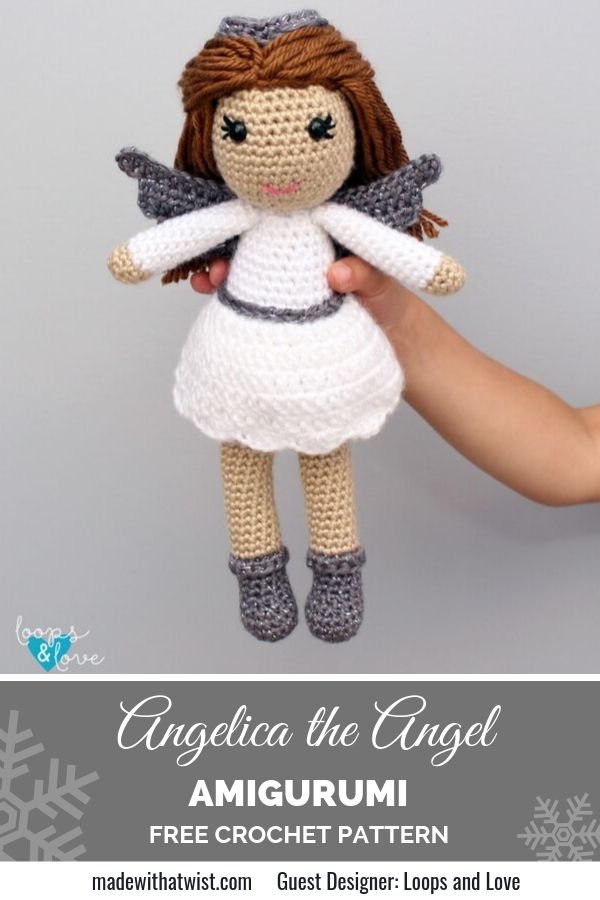 Pinterest graphic for Angelicaa the Angel Amigurumi FREE Crochet Pattern with a photo of a hand holding the doll