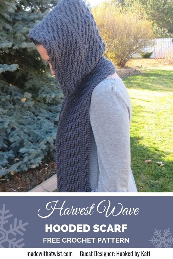 Pinterest graphic for Harvest Wave Hooded Scarf FREE Crochet Pattern with a photo of a persona wearing it