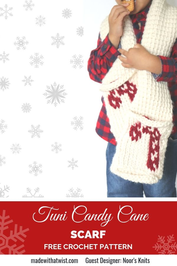 A Pinterest image showing a young boy wearing jeans and a red and black plaid shirt. He's wrapped in a cream colored scarf with a candy cane motif on each end. He's eating a cookie. The background is white with grey snowflake graphics.