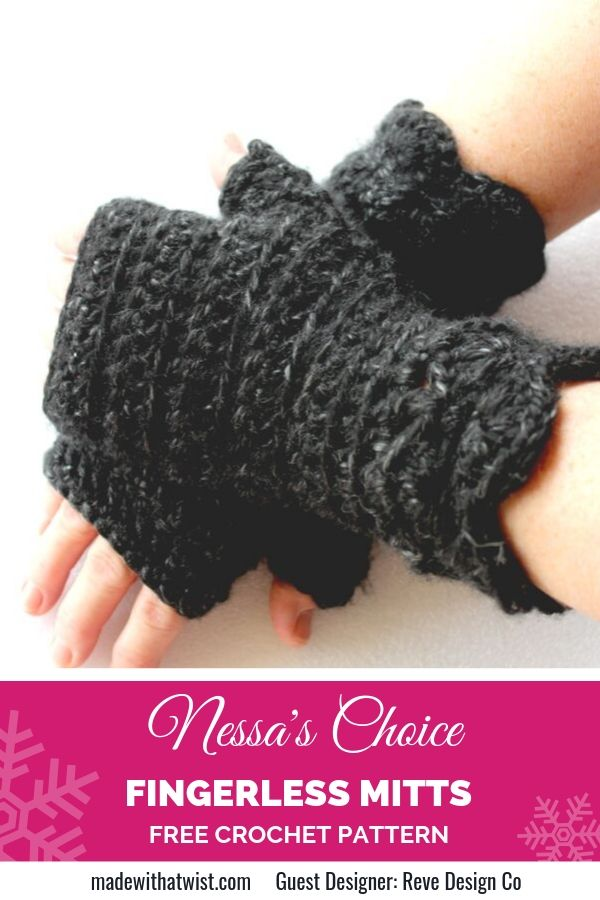 Pinterest graphic for Nessa's Choice Fingerless Mitts FREE Crochet Pattern with a photo of a pair of gloves on a pair of hands on top of each other